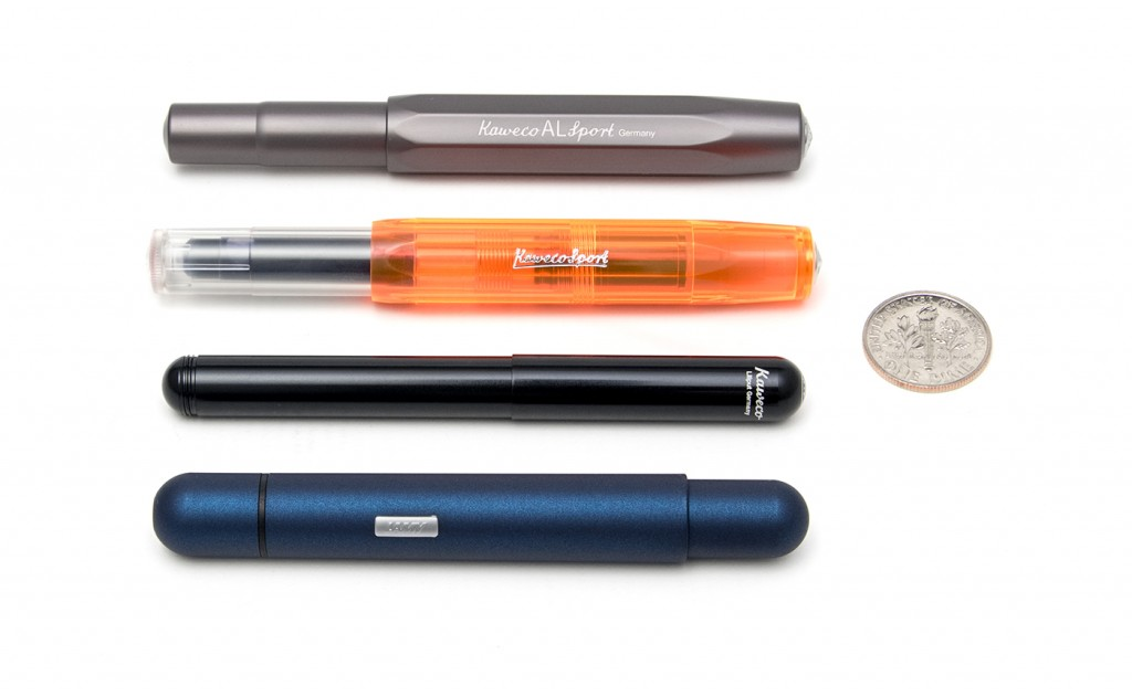 LAMY Pico closed and pocket size compared to the Kaweco AL Sport Fountain Pen, Kaweco ICE Sport Ink Roller and Kaweco Liliput Fountain Pen