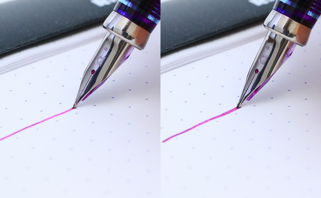 Left: no pressure on the nib. Right: slight nib flex when pressed against the paper.