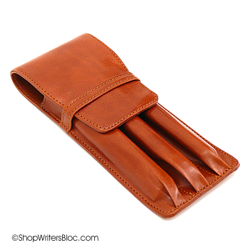 Aston Leather Triple Pen Case - Tan
