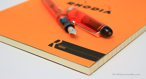 R by Rhodia Notepad, Medium Size, Orange Cover and a Pilot Custom 74 Fountain Pen