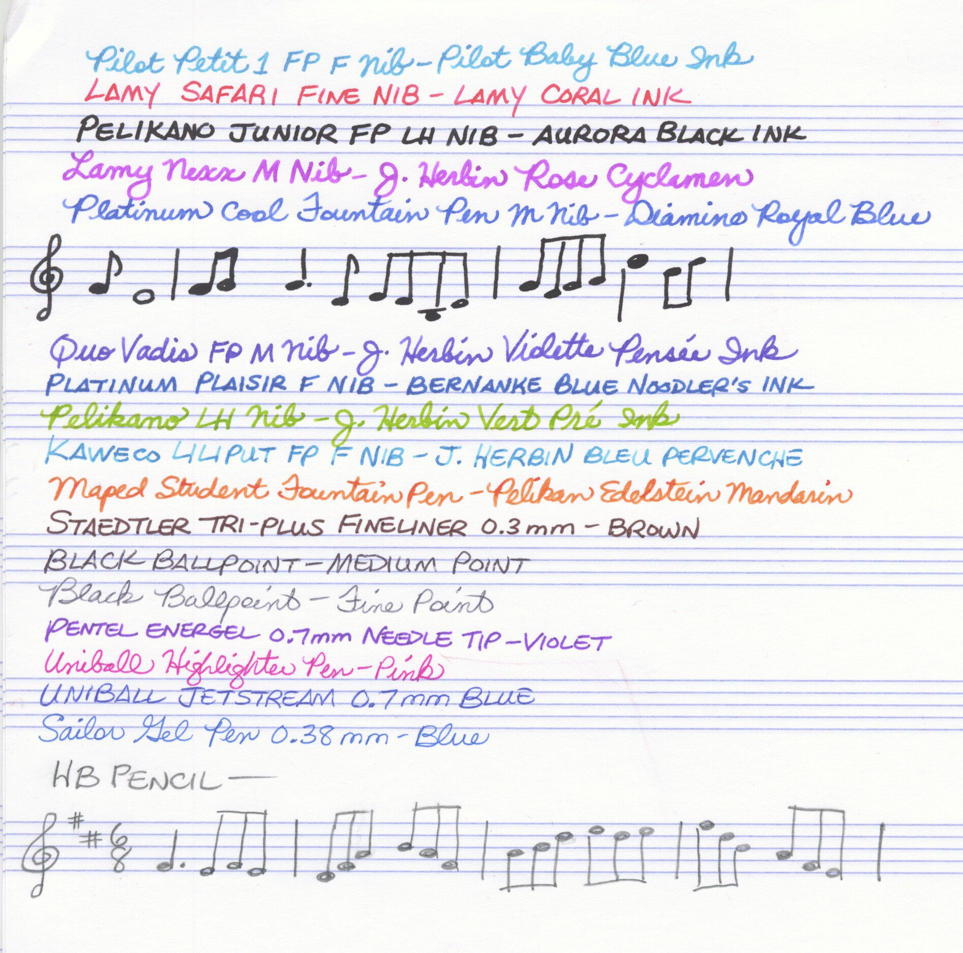 Clairefontaine Music Notebook - Writing Test (Front)