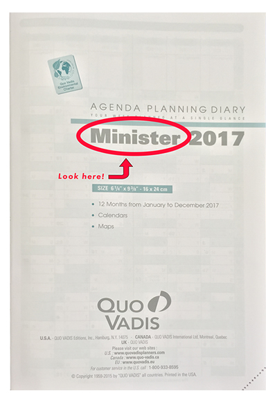 How to find the name of the Quo Vadis planner refill that you need.